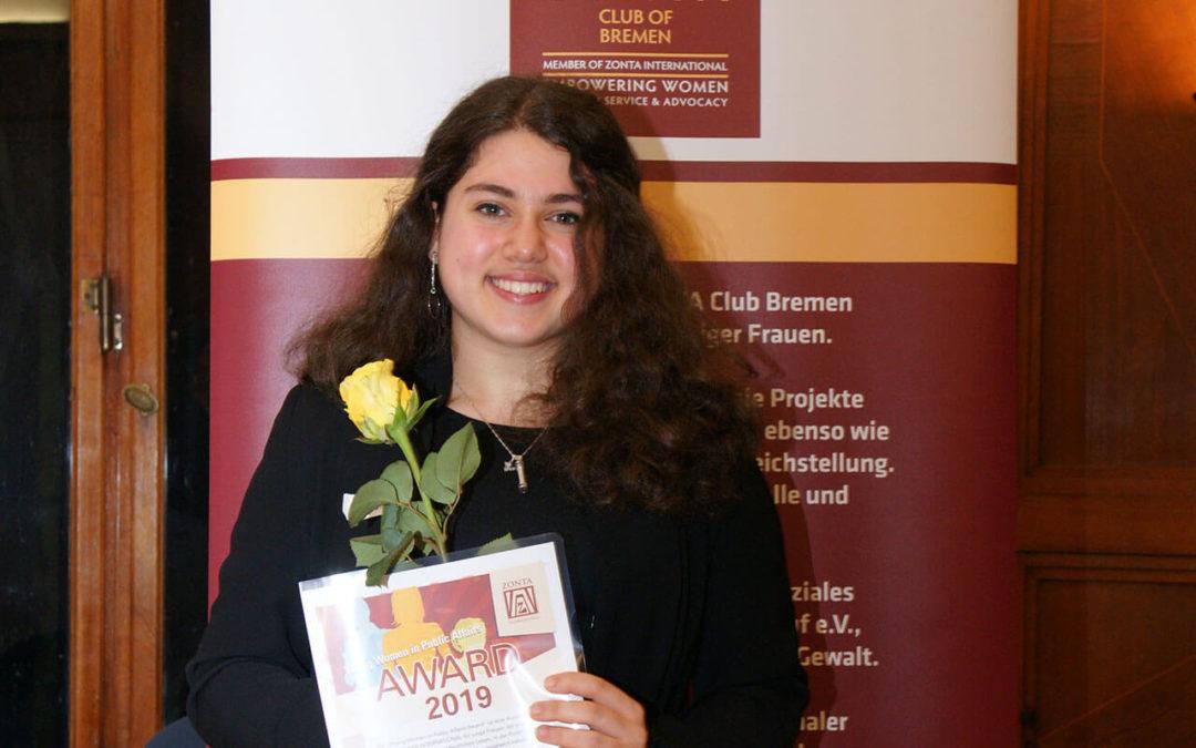 Zonta HB YPWA Preisverleihung 2019 Gewinnerin